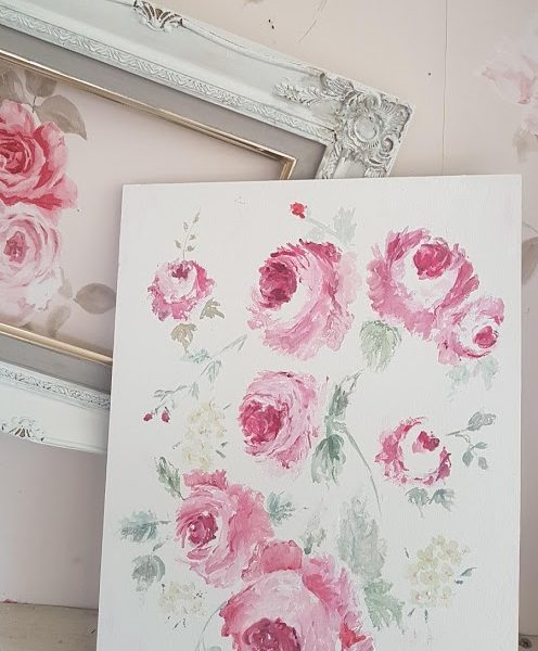 Beautiful Roses signed Acrylic Painting on Board by Rose & Foxgloves