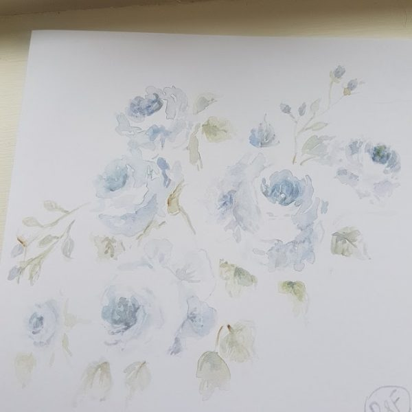 Blue Roses Original signed watercolour card with envelope