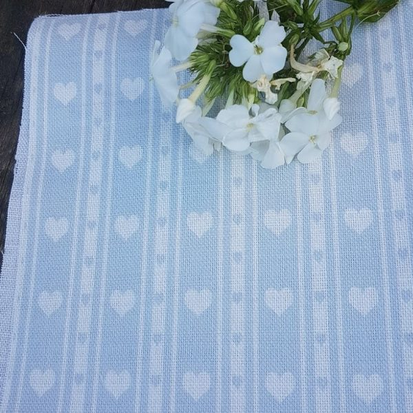 Powder Blue & Ivory Heart Ticking Linen Fabric