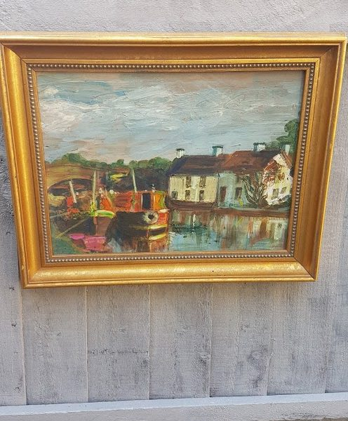 Canal Boats and Cottages Vintage Gold Framed Painting