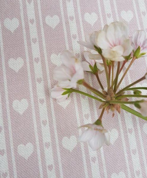 Dusky Rose Pink & Ivory Heart Ticking Linen Fabric