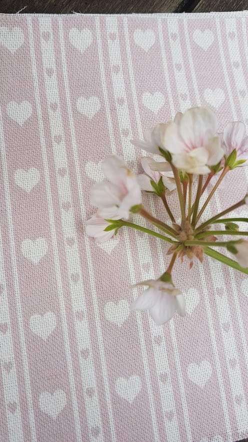 Dusky Rose Pink & Ivory Heart Ticking Linen Fabric