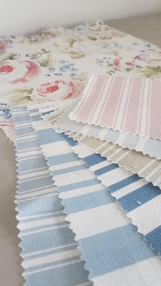 Eiderdown sample choices of striped linen