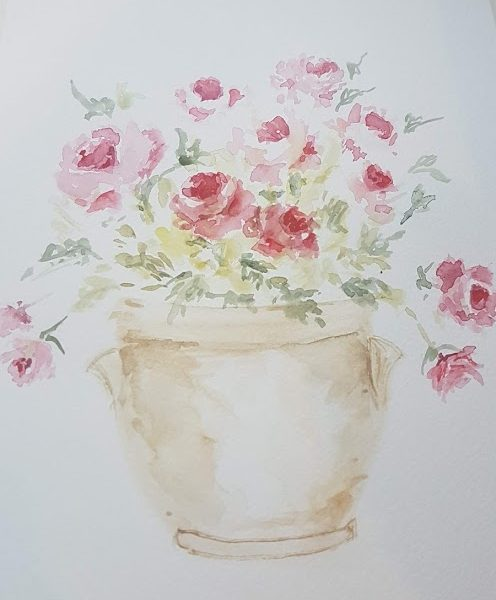 French Confit Pot of Roses Signed Watercolour Painting by Rose and Foxgloves