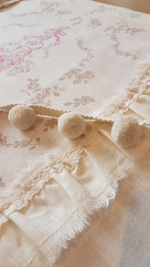 French , Ripped edge ruffle and lace Posy Basket bolster cushion