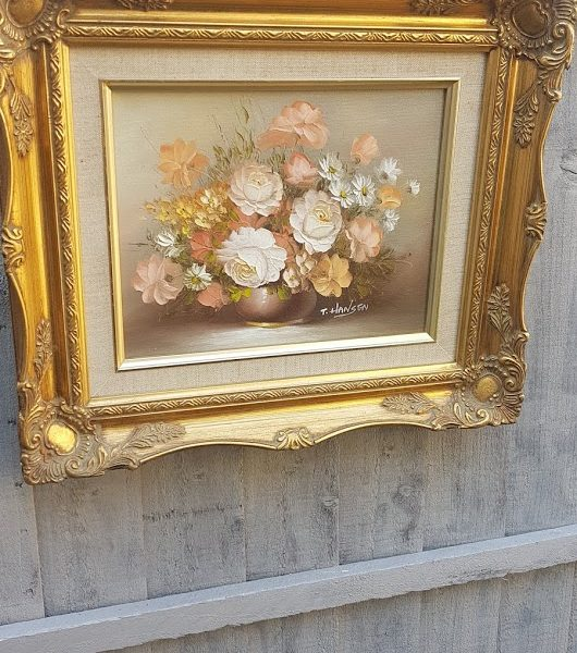 Gilt Ornate Framed Apricot Roses Vintage Signed Oil Painting by T Hansen