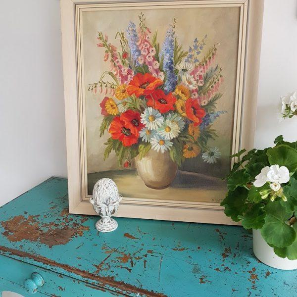 Large Pot of Garden Flowers Oil Painting Mary Pratt