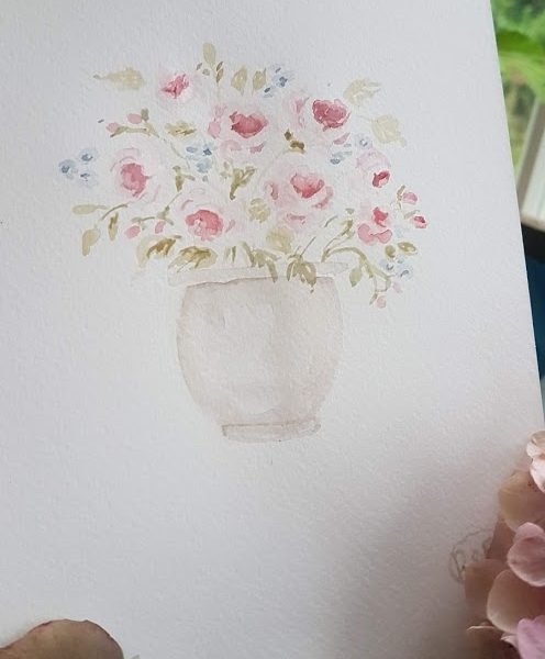 Little pot of roses Painting by Rose and Foxgloves