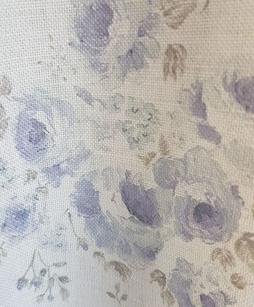 Millies Blue Climbing Roses Vintage Inspired Linen Fabric
