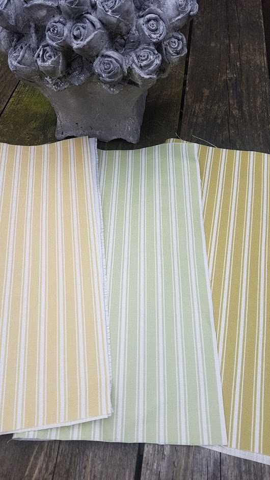 Ticking Stripes in Mudded Olive and Ivory Linen Fabric
