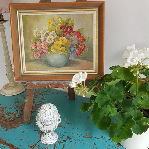 Polyanthus Vintage Oil Painting Mary Pratt