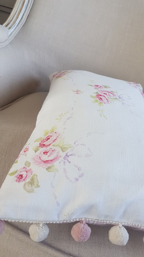 Rose and Bows Floral Bolster Cushion with Dusky Rose and Ivory PomPom trim