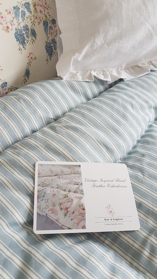 Rose and Foxgloves Country Blue ticking Feather Eiderdown