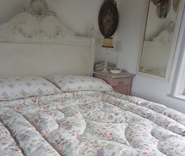 Rose and Foxgloves Vintage Floral Feather Eiderdown in cabbage and roses linen