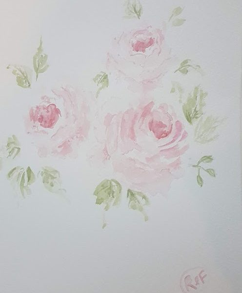 Simple Pink Roses Original Signed Watercolor Painting