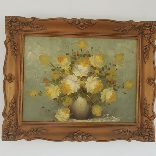 Vintage Lemon Roses Signed Oil Painting