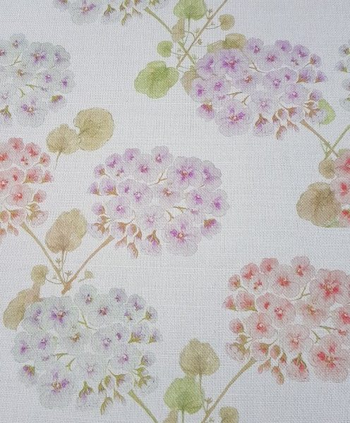Vintage geranium faded floral linen fabric by Rose and Foxgloves