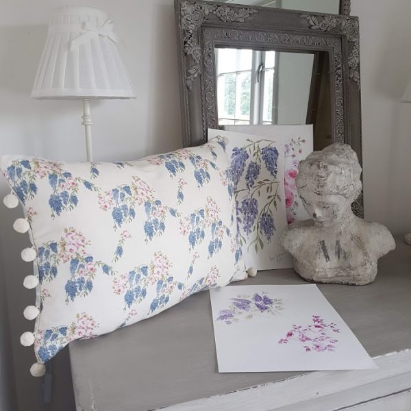 Wisteria and Roses Floral Linen Bolster with Ivory PomPoms
