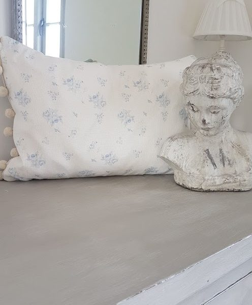 french faded roses and powder blue striped pompom linen bolster cushion