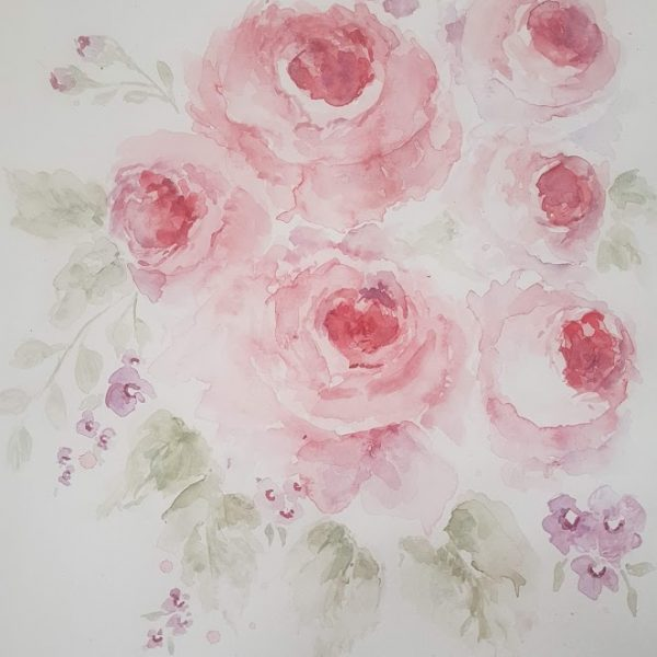 Original Watercolour Roses Signed Painting-3