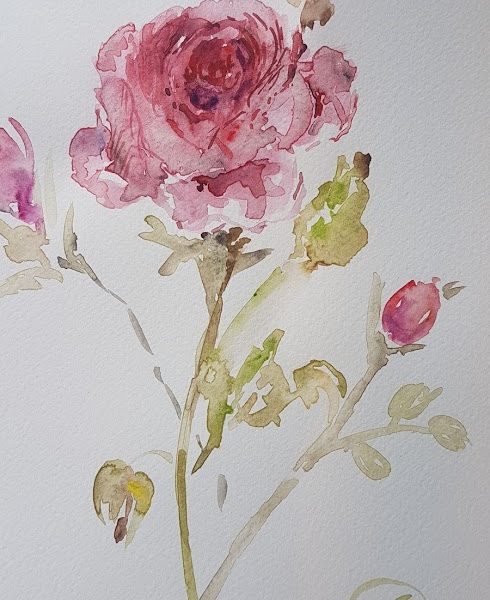 Evening Doodles-The Silk Rose Painting by Rose and Foxgloves