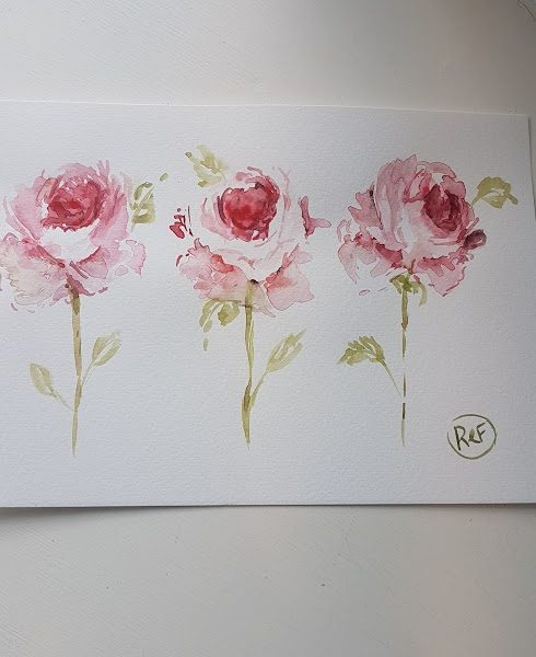 Evening Doodles-Three Little Roses Painting by Rose and Foxgloves