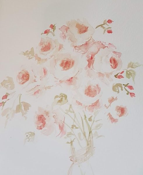 Evening Doodles- Handtied Apricot Roses Painting by Rose and Foxgloves