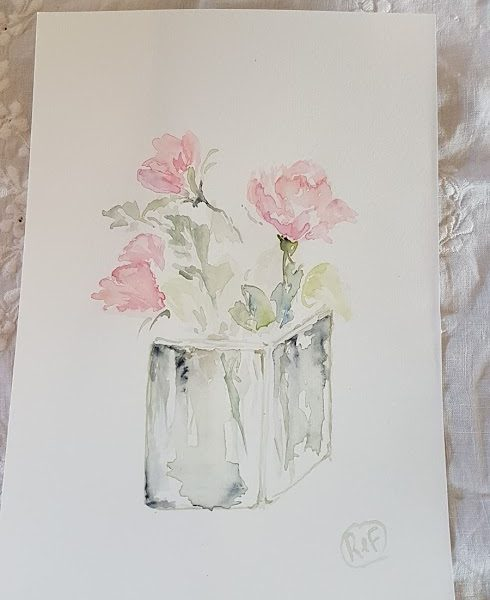 Evening Doodles- Old Roses in Glass Vase Painting by Rose and Foxgloves