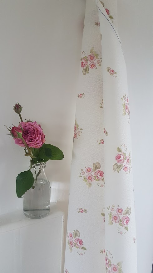 Vintage Roses Floral Linen on Ivory Base- Edelwiss- Rose and Foxgloves