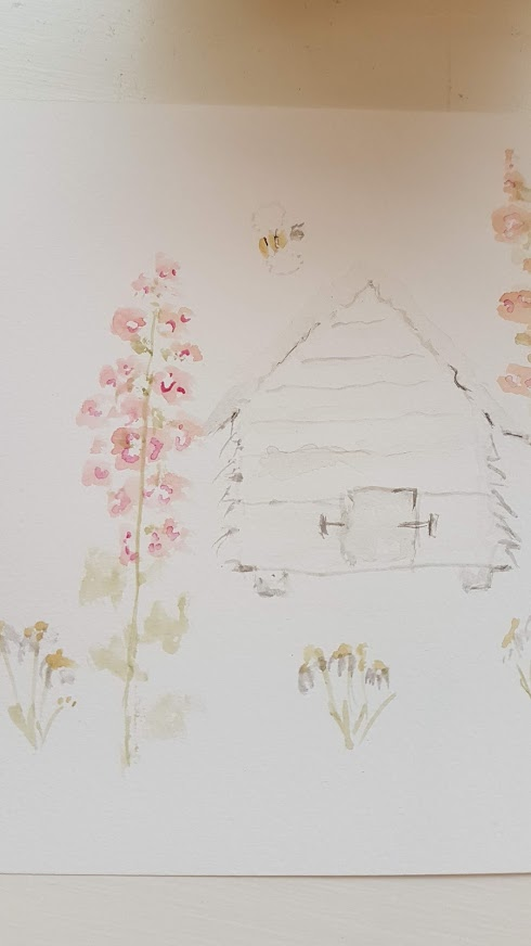 Beehive and Hollyhocks Painting by Rose and Foxgloves