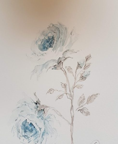 Blue Roses Painting by Rose and Foxgloves