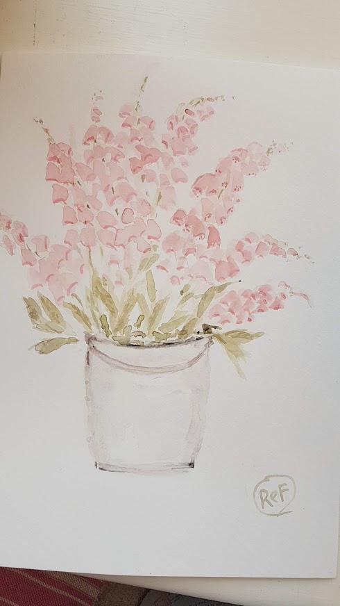 Bucket Full of Foxgloves Painting by Rose and Foxgloves