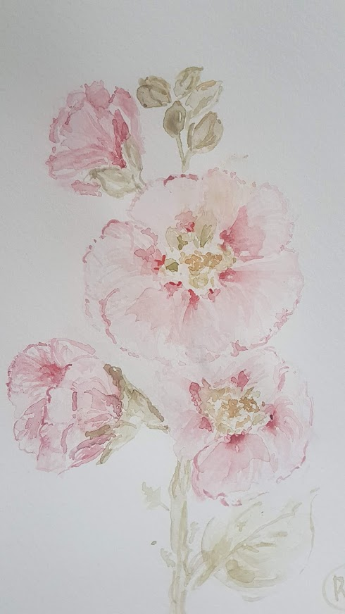 Evening Doodles-Cottage Hollyhock Watercolour Painting Rose and Foxgloves