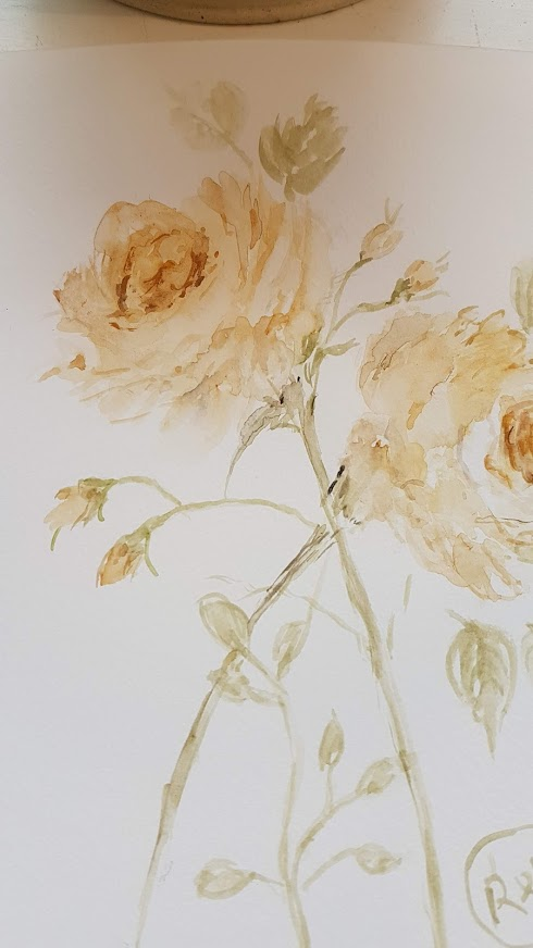 Cottage Lemon Roses Painting by Rose and Foxgloves