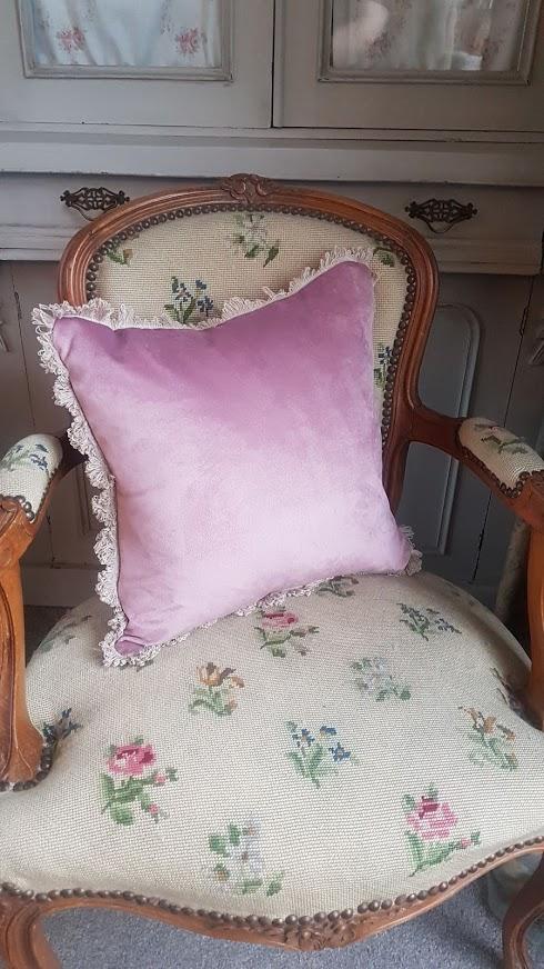 Dusky Pink Velvet cushion with Beech Fan Edge trimming Rose & Foxgloves