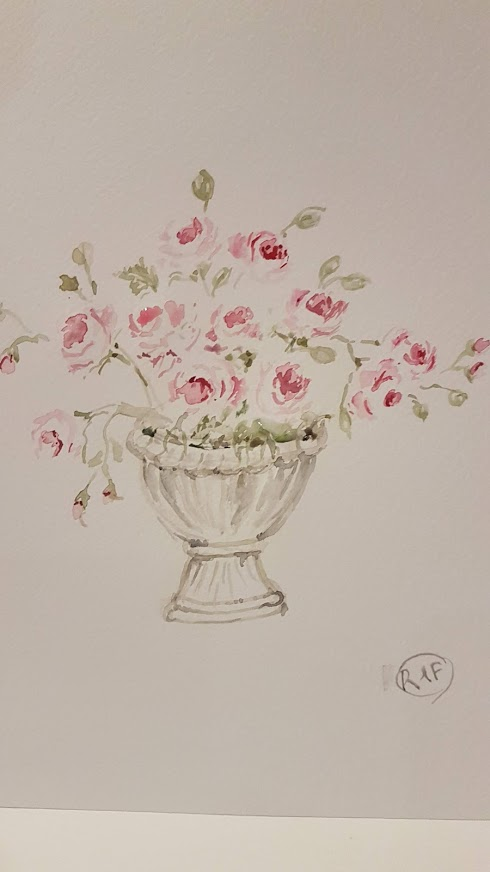 Garden Urn and Roses Watercolour Painting Rose and Foxgloves