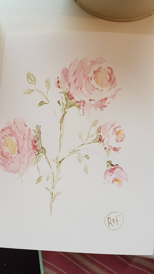 Pretty Climbing Roses Painting by Rose and Foxgloves