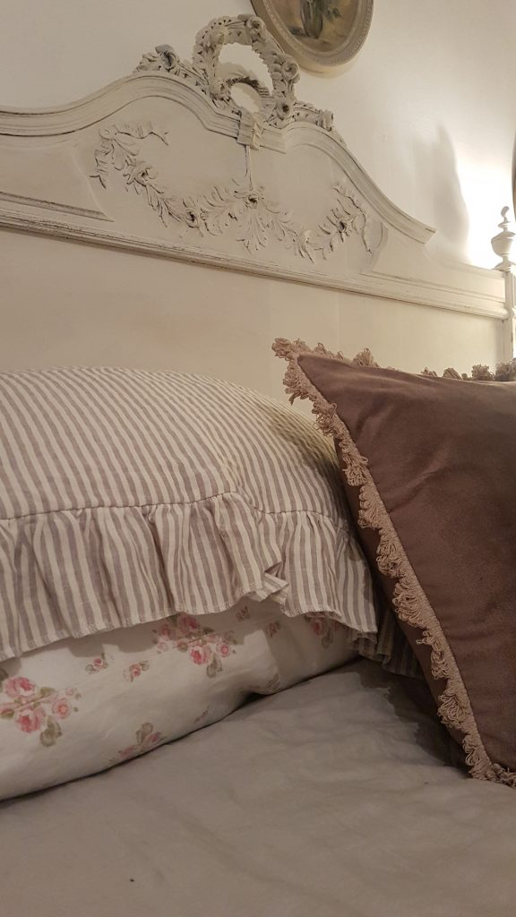 Rose and Foxgloves French Stripe Ruffle Pillowshams