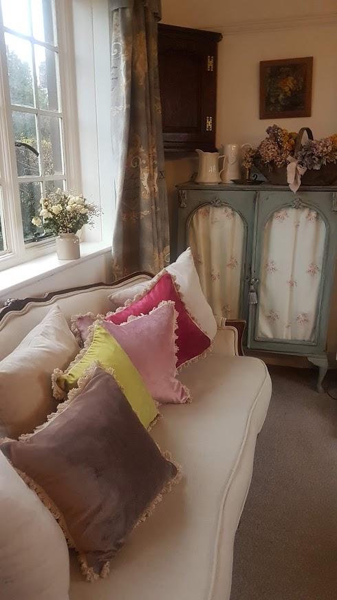 Velvet cushions Rose and Foxgloves