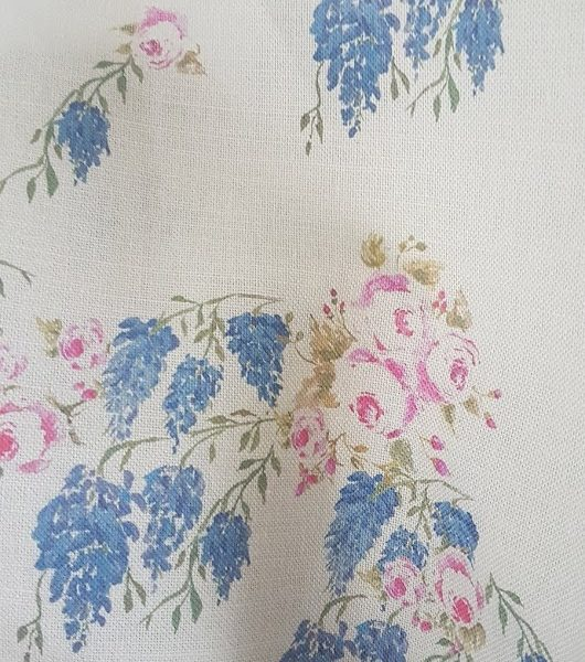 Wisteria & Roses English Country Garden Floral Grey Linen- Large