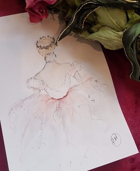 Christmas Ballerina Watercolour Painting Rose and Foxgloves