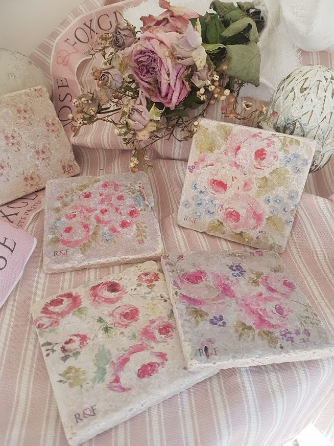 Cabbage Roses Natural Travertine Stone Coasters by Rose and Foxgloves