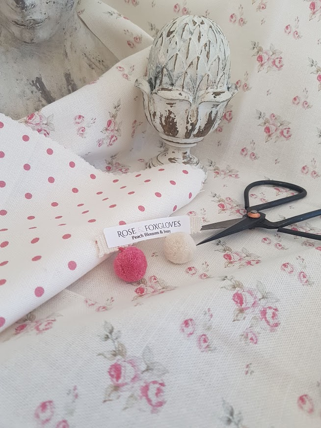 Ditsy Roses and Berry Polka Dots Linen Fabric by Rose and Foxgloves