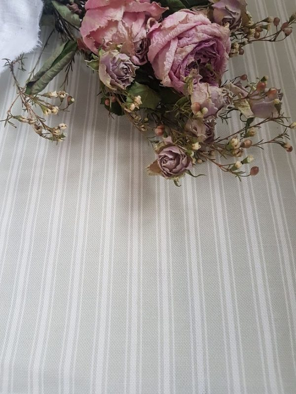 Ticking Stripes in Emily Grey and Ivory Linen Fabric