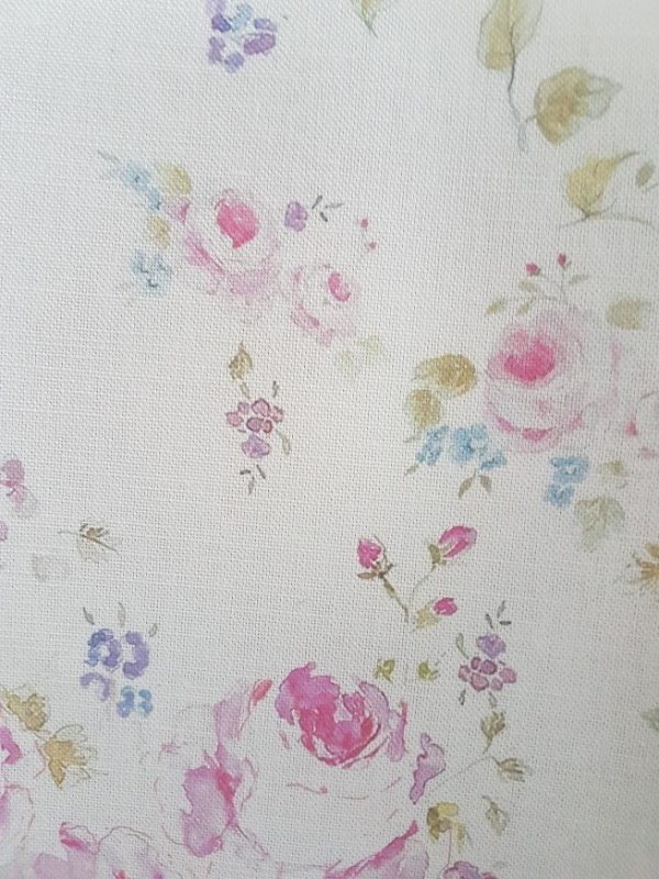 Roses and Clematis Vintage Style Floral Linen Fabric
