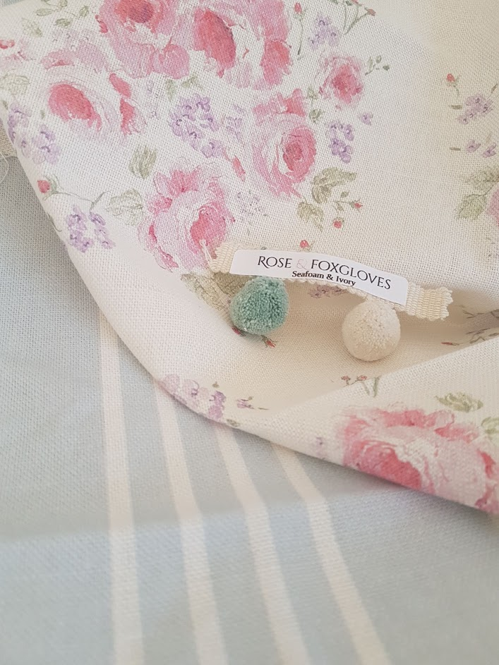 climbing roses and powder blue striped linen fabric