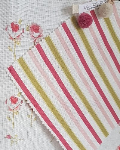 Candy Stripes on Ivory Linen Fabric