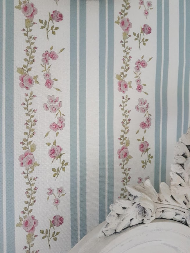 Clara Rose with Chateau blue stripes floral linen