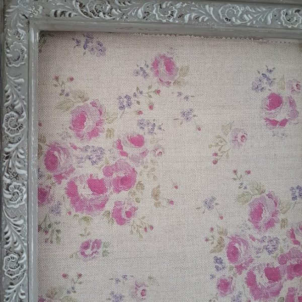 Climbing Roses in Vintage Mulberry on Natural Linen by Rose and Foxgloves