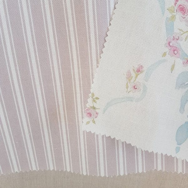 Ticking Stripe in Dusky Blush Pink and Ivory Linen Fabric